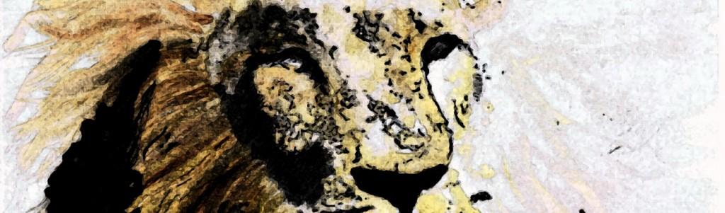 """Fresco Lion"" by Lahle Wolfe. Watercolor. Gold, yellow, orange, black."