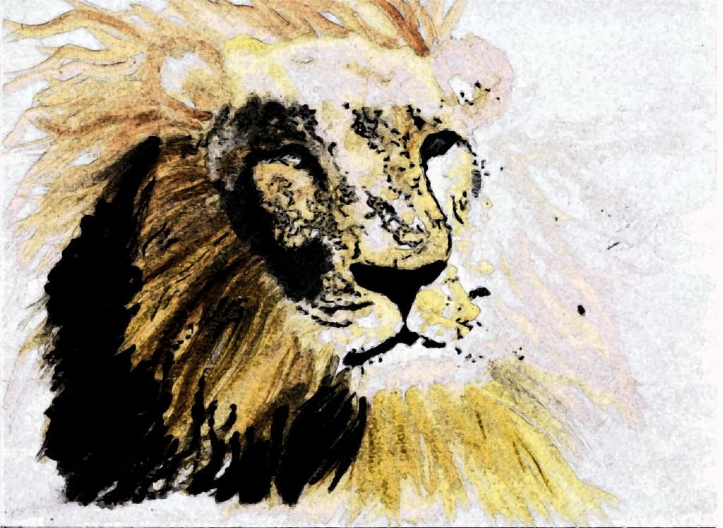 Lion, by Lahle. Watercolor, felt tip, ink pen.