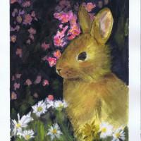 Bunny watercolor by Sophia Ehrlich