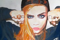 Cara Delvigne watercolor portrait by Lahle Wolfe