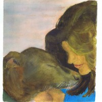 Dog and Woman, Water color painting by Sophia Ehrlich March 2004