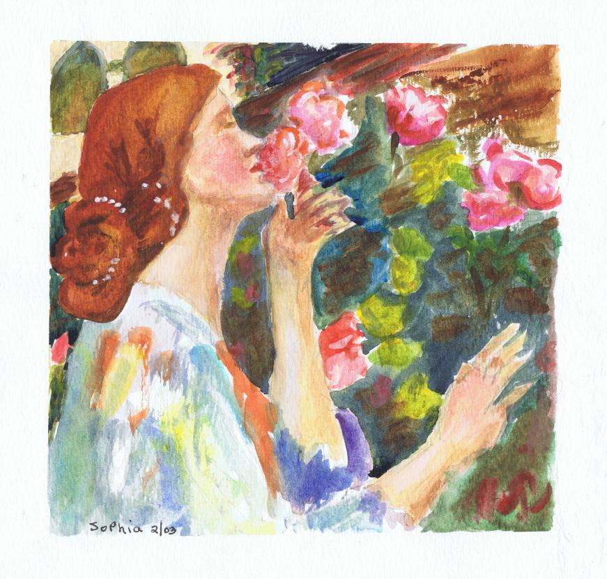 Lady Smelling Roses 02 2003 Sophia Ehrlich
