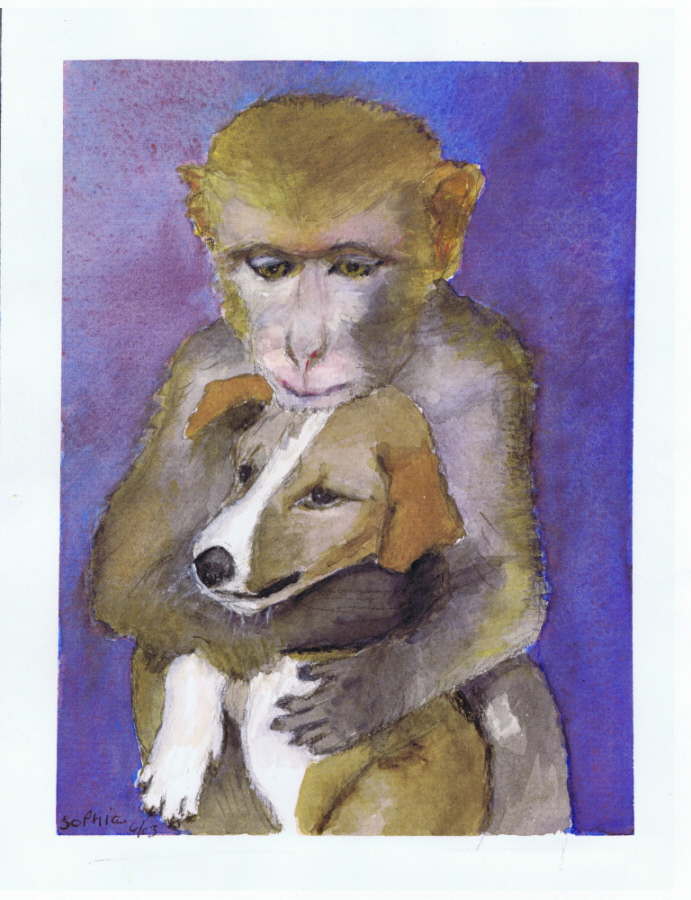 Maternal Puppy Love 06 2003 Watercolor Painting by Sophia Ehrlich