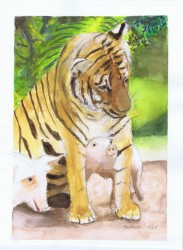 Tiger and Pig watercolor painting by Sophia Ehrlich, May 2005