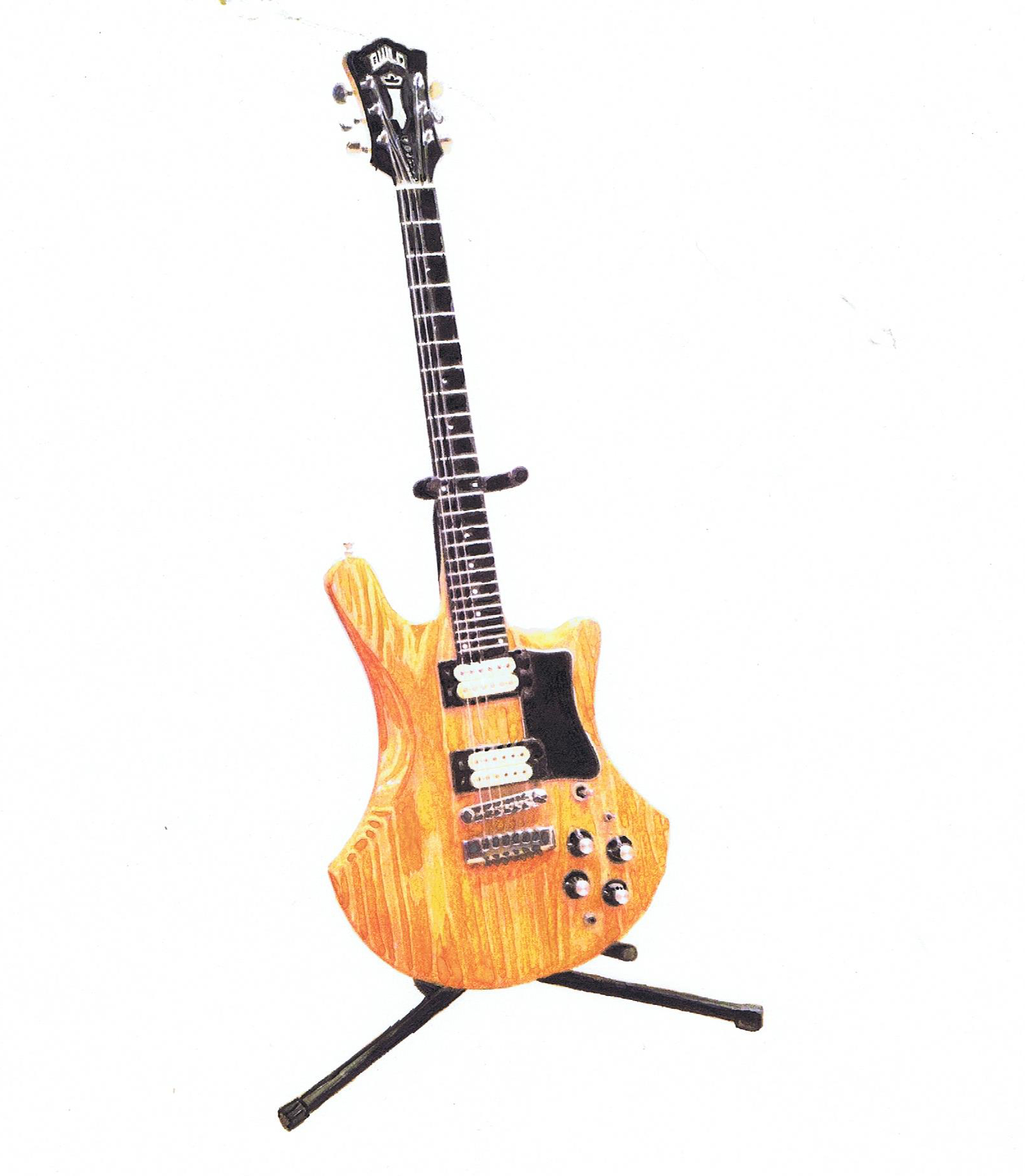 1978 Guild S300D guitar, in watercolor and ink. By Lahle Wolfe December 31, 2013.