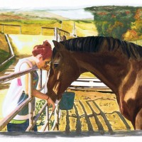 """""""Lizzie Loves Troy"""" water color and ink by Lahle Wolfe. Los Angeles, Far West Farms."""