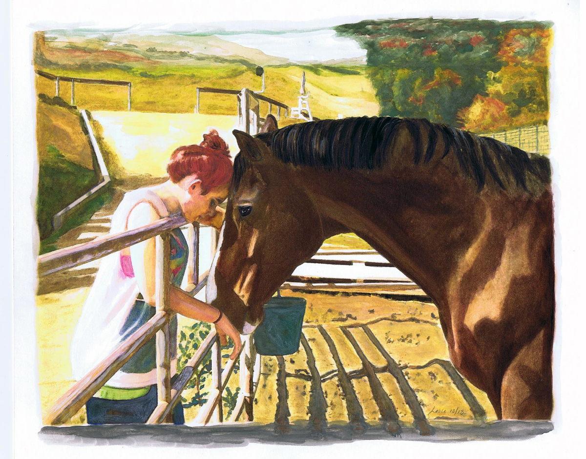 """Lizzie Loves Troy"" water color and ink by Lahle Wolfe. Los Angeles, Far West Farms."