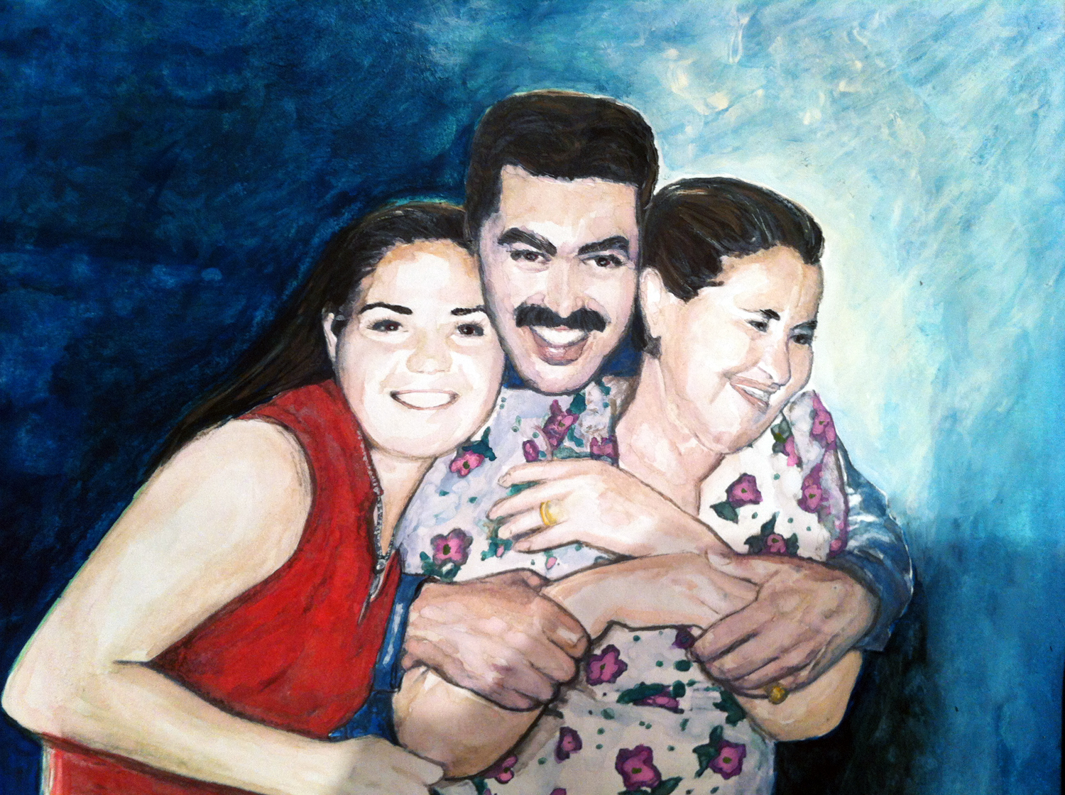 Family Portrait of Frannie and his sister and mother. By Lahle Wolfe for a friend.