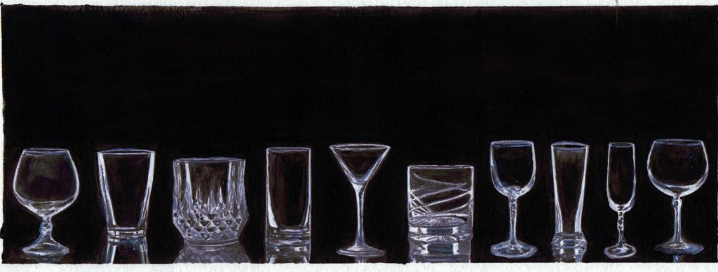 """""""Possibilities"""" acrylic painting by Lahle Wolfe. Black background with empty water crystal glasses in a row."""
