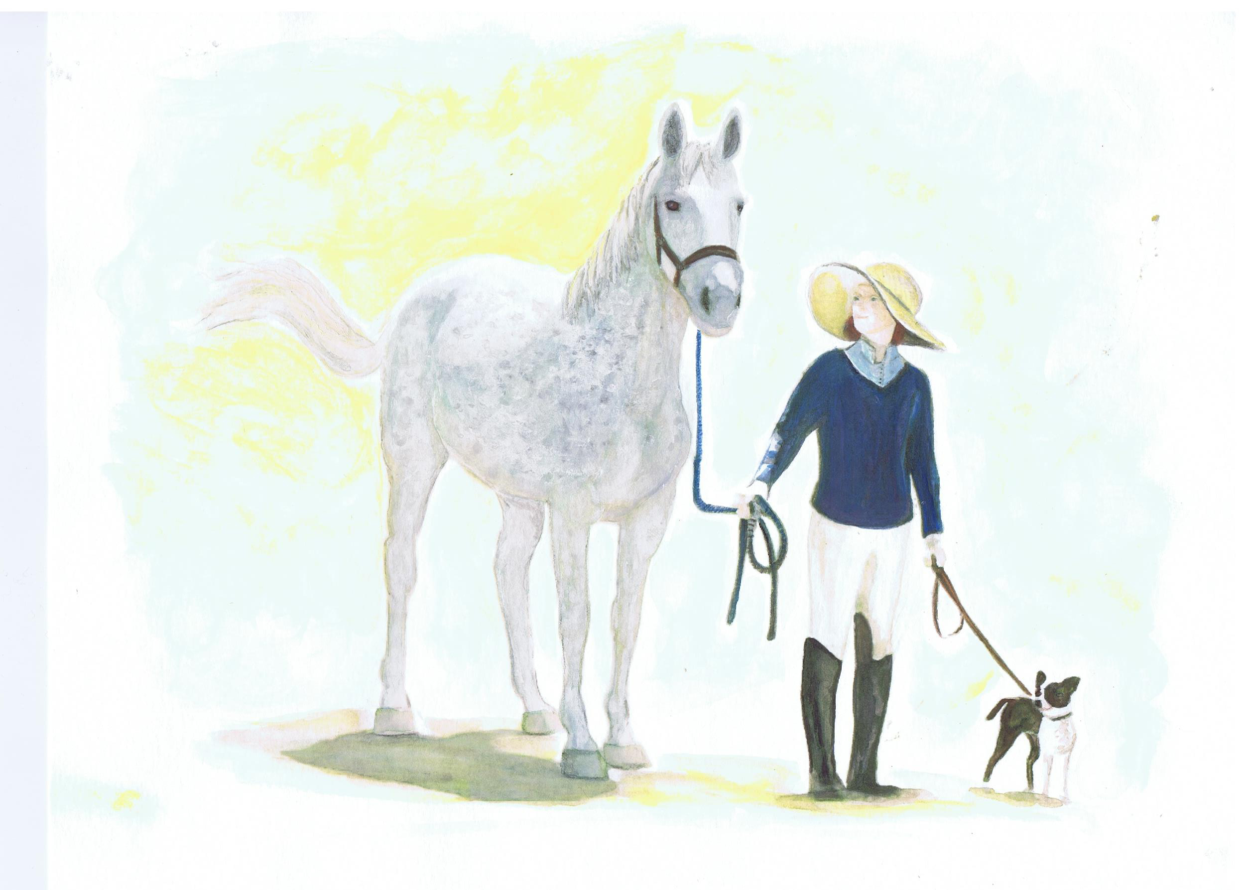Janet and Annie,water color painting by Lahle Wolfe. Horse, woman, boston terrier.