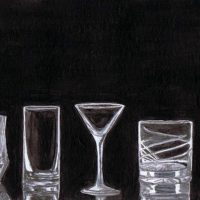 """""""Possibilities"""" water color painting by Lahle Wolfe. Empty drinking glasses on black background. From source art: 123RF stock image."""
