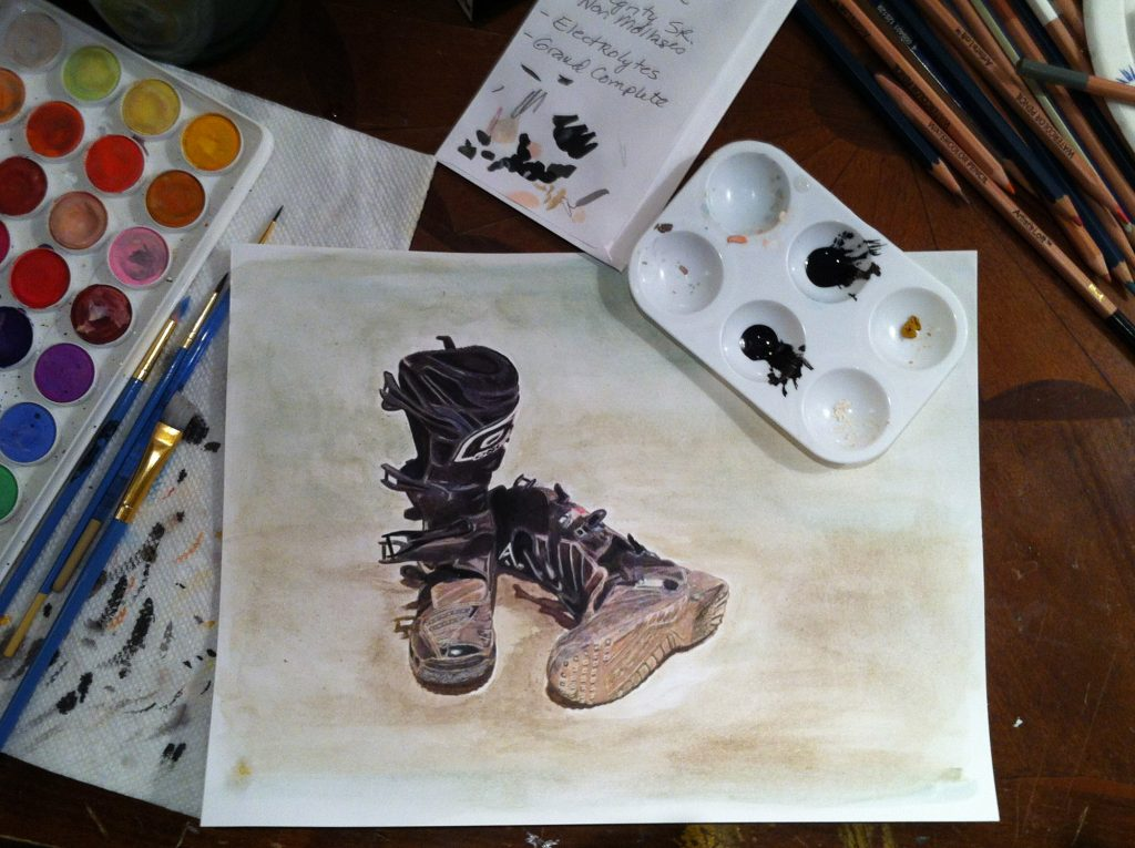 Watercolor painting of dirty dirty bike boots in progress.