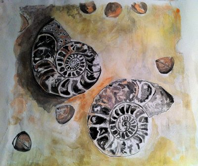 """Nautilus Shells"" watercolor by Lahle. Circa Summer 2008."