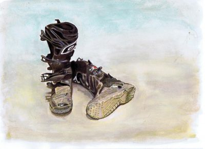 """""""After the Ride"""" watercolor by Lahle."""