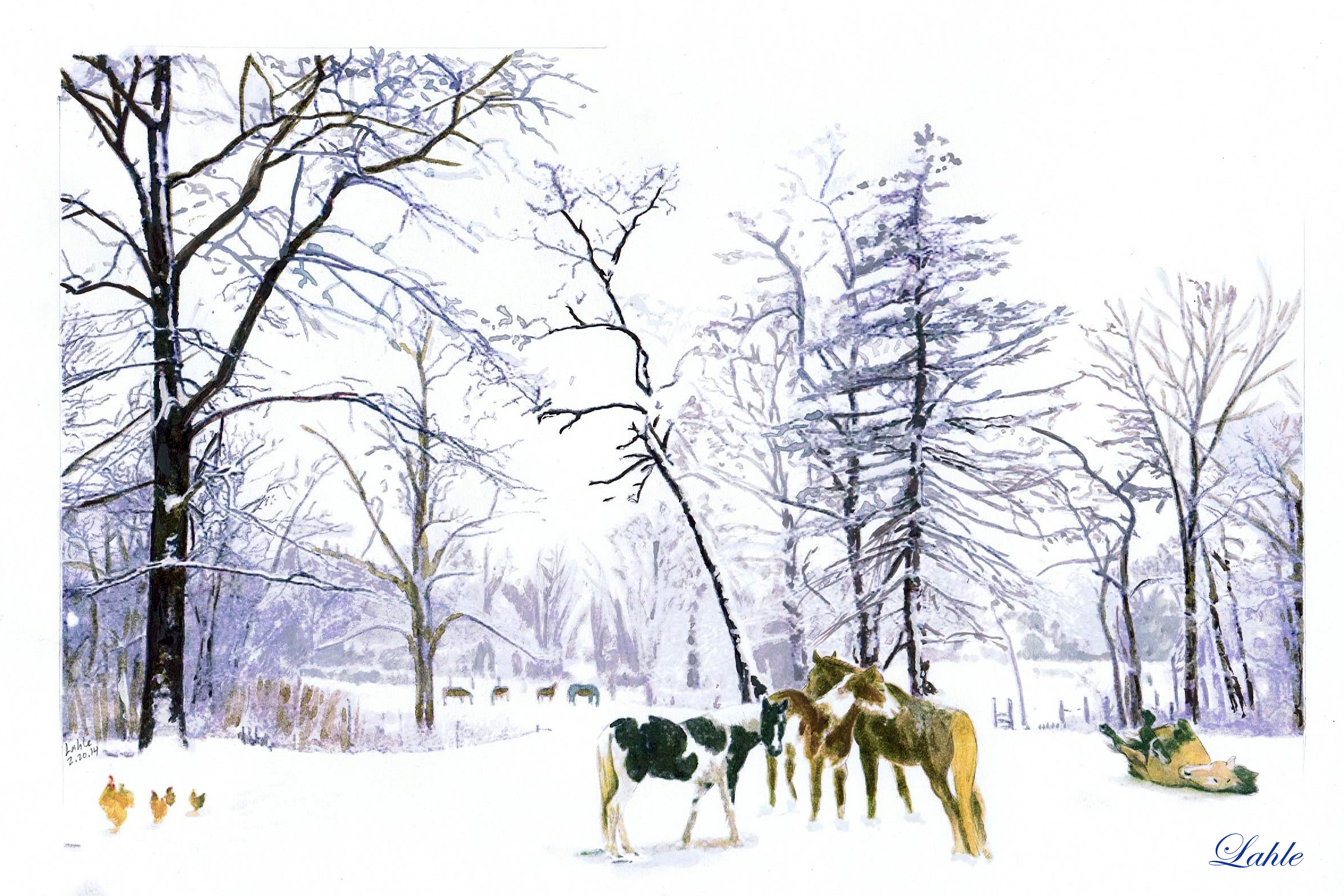 """Winter at Karen's Place."" Watercolor by Lahle Wolfe"