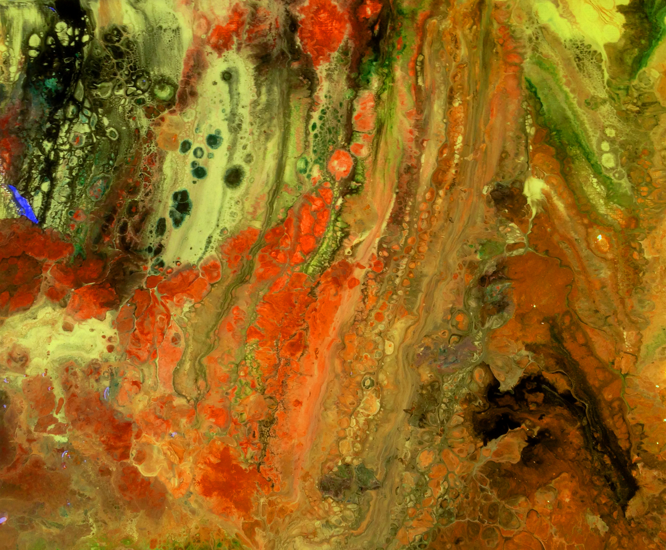 """Biopsy"" Acrylic art pour by Lahle Wolfe Ehrlich; October 10, 2017."