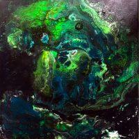 """""""Alien Rain"""" acrylic glow-in-the-dark paints. Lahle Wolfe, Los Angeles 2017."""