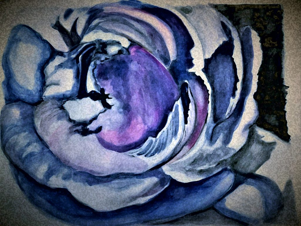 """Fabric Rose"" multimedia painting by Lahle Wolfe."