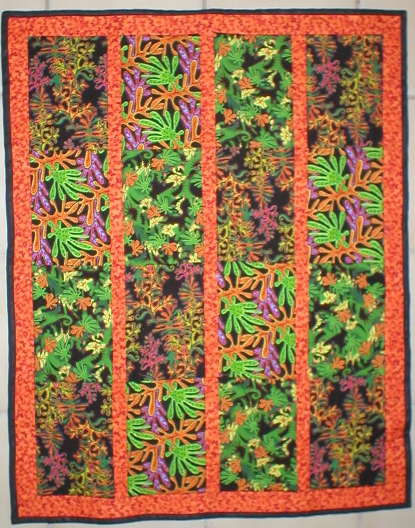 Hot Orange Foliage Quilt by Lahle Wolfe