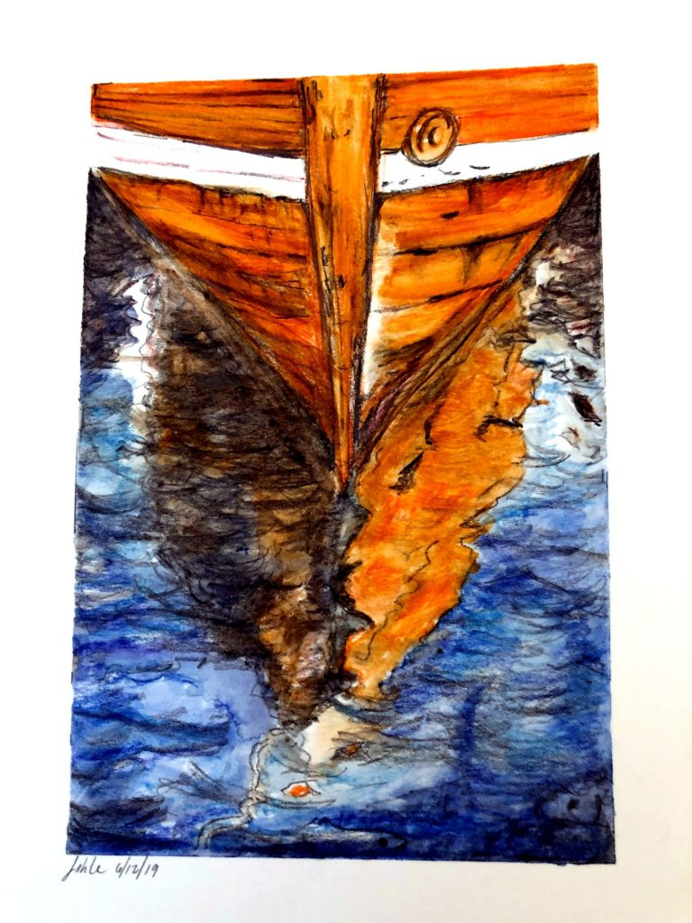 My daughter and I are learning watercolors together. I like to hide things in my paintings and there are two hidden fish in this one. Source: From photo by Hans J. Hansen. Creative Commons License.