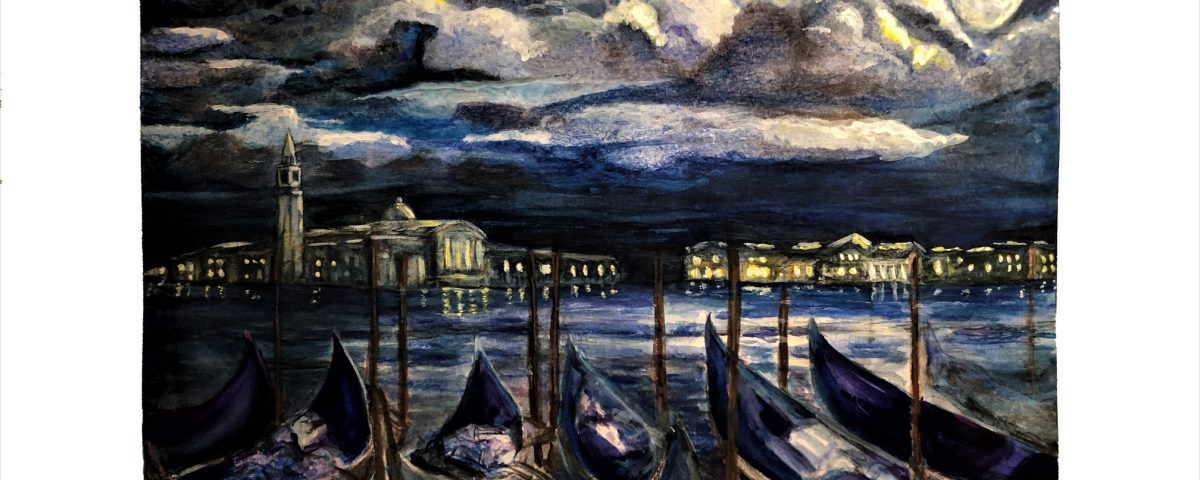 Venice at Night - a watercolor painting by Lahle Wolfe Ehrlich