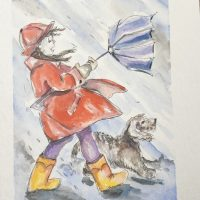 Windy Weather Girl Line and Wash Watercolor painting.