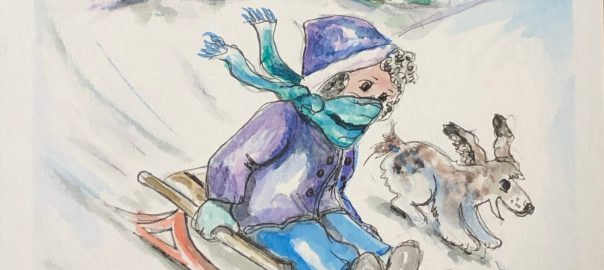 Girl riding a sled down a wintery hill. Line and wash watercolor