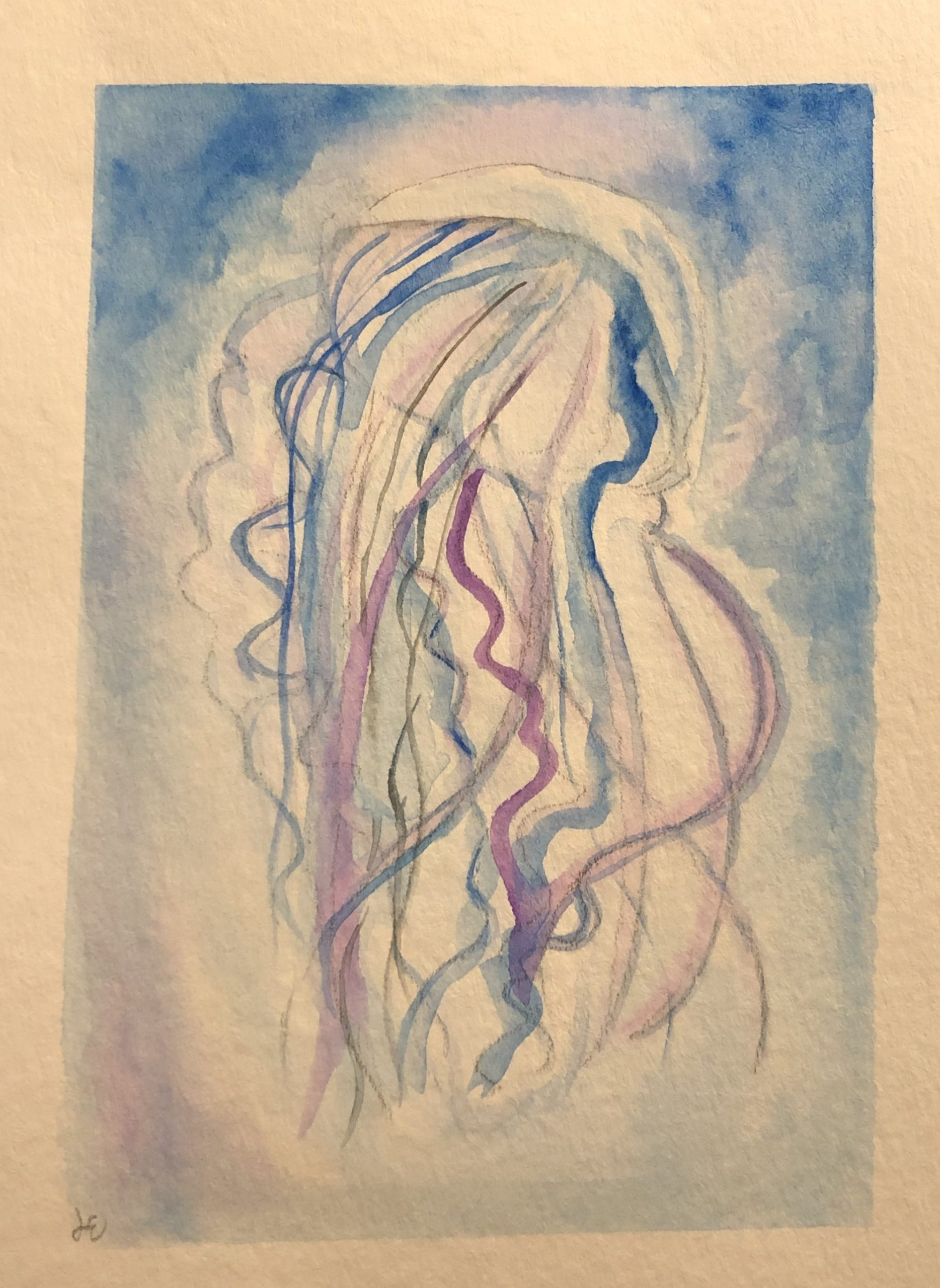 Jelly fish watercolor painting