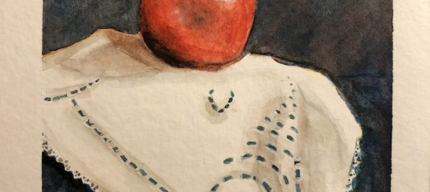 Still Life Watercolor Painting of a red apple on a lace doilie.