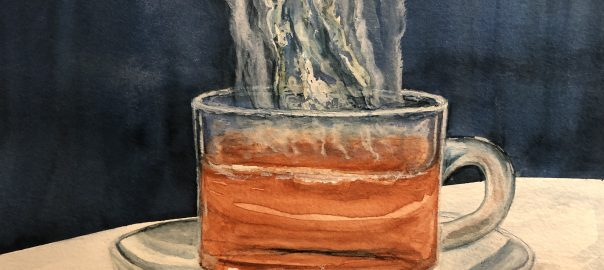Watercolor painting of a steaming hot cup of tea.